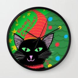 Christmas Cat-Long Black Hair Green Eyes Wall Clock