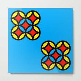 Colored Circles on Light Blue Board Metal Print