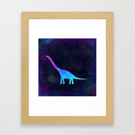 BRACHIOSAURUS IN SPACE // Animal Graphic Art // Watercolor Canvas Painting // Modern Minimal Cute Framed Art Print