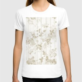 Rustic vintage white wood bohemian brown floral T-shirt