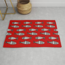 Retro Modern Fish, Deep Red and Gray / Grey Rug