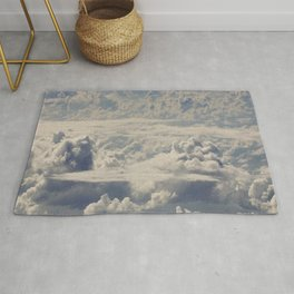 Magical White Cotton Clouds in Mystical Blue Sky Rug