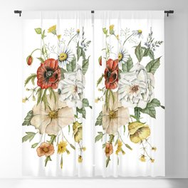 Wildflower Bouquet on White Blackout Curtain