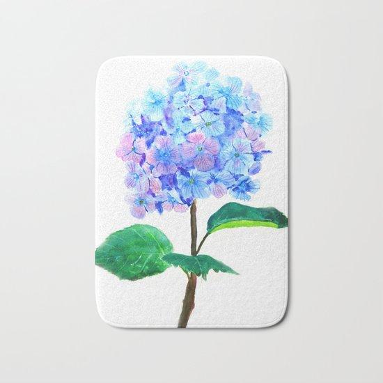 blue purple hydrangea Bath Mat