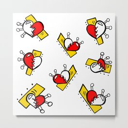 Hearts with Stitches - Red Yellow Metal Print