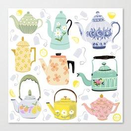Vintage Teapots Canvas Print