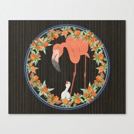 Flamingo wreath Canvas Print