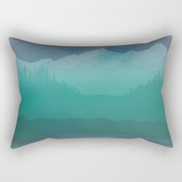 Ombre Mountainscape (Blue, Aqua) Rectangular Pillow