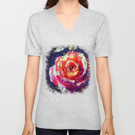 Jeweled Rose Unisex V-Neck