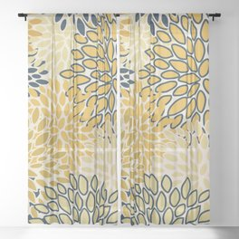 Floral Prints, Abstract Art, Navy Blue and Mustard Yellow, Coloured Prints Sheer Curtain