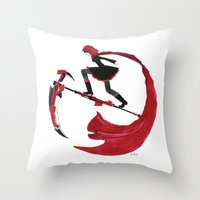rwby Throw Pillows featuring RWBY - Ruby Red and Crescent Rose by Justine Shih
