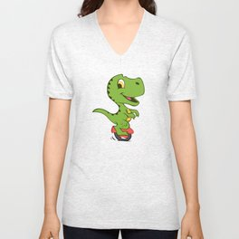 Cartoon dino on electric vehicle of a wheel Unisex V-Neck