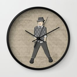 Boys formal wear gray argyle Wall Clock