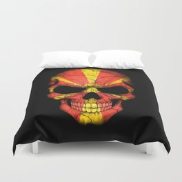 Dark Skull with Flag of Macedonia Duvet Cover
