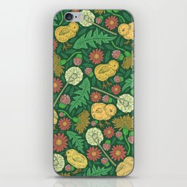 Orange hen with yellow chickens and dandelions on green background iPhone Skin