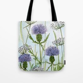 Thistle White Lace Watercolor Tote Bag