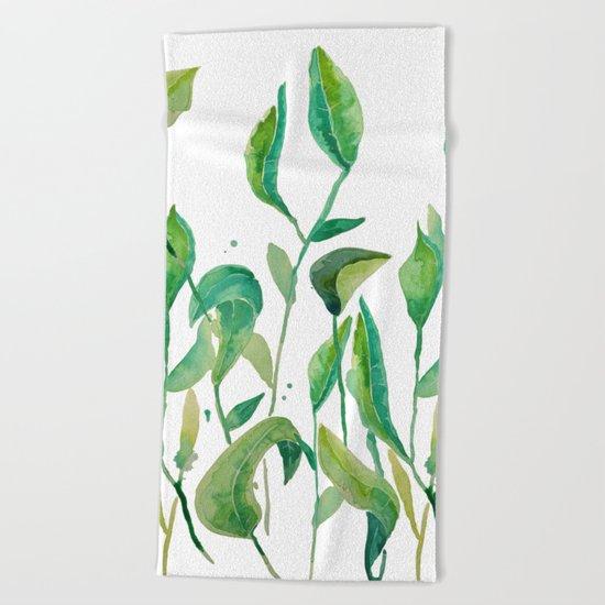 green watercolor garden Beach Towel