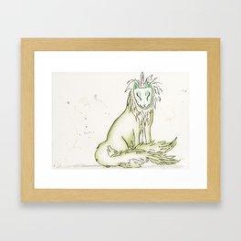 Moss Hidden Kitsune.  Framed Art Print