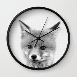 Black and white Fox print, Fox wall art, Nursery decor, Animal art, Baby animal prints Wall Clock