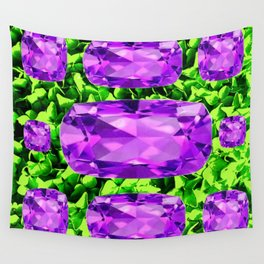 PURPLE AMETHYST FEBRUARY BIRTHSTONE GREEN ART Wall Tapestry