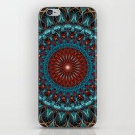 Glowing red and blue mandala iPhone Skin