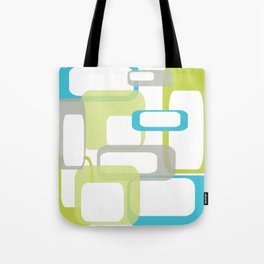 Mid-Century Modern Rectangle Design Blue Green and Gray Tote Bag