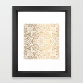 Gold Mandala Pattern Illustration With White Shimmer Framed Art Print