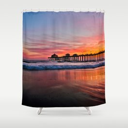 Sunset At The Huntington Beach Pier  -  2/28/16 Shower Curtain