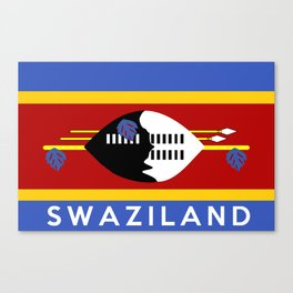 Swaziland country flag name text Canvas Print
