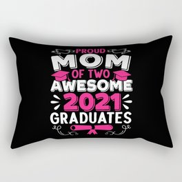 Proud Mom Of Two Awesome 2021 Graduates Graduation Rectangular Pillow