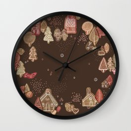 Hansel and Gretel Fairy Tale Gingerbread Pattern on Brown Wall Clock