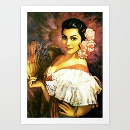 Jesus Helguera Painting of a Mexican Calendar Girl with Fan Art Print