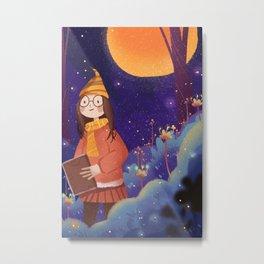 Night Magic Girl Metal Print