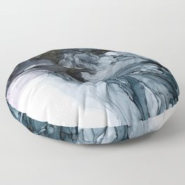 Dark Payne's Grey Flowing Abstract Painting Floor Pillow