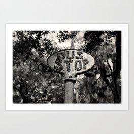 Old Bus Stop Sign in Savannah Georgia, Black and White Photography, Savannah Photo Print Art Print