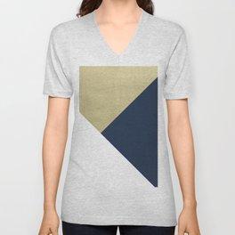 Gold meets Navy Blue & White Geometric #1 #minimal #decor #art #society6 Unisex V-Neck