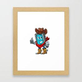 Smartphone cowboy cartoon, Framed Art Print
