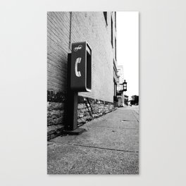 Standing Outside a Broken Phone Booth With Money in My Hand Canvas Print