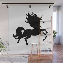 Simple Black Unicorn Wall Mural