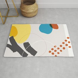 Shape & Hue Series No. 1 – Yellow, Orange & Blue Modern Abstract Rug