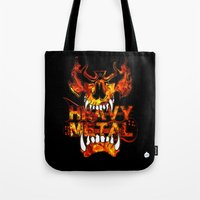 heavy metal Tote Bags featuring Heavy Metal by Lindsay Spillsbury