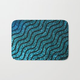 Blue Glitter With Black Squiggle Pattern Bath Mat