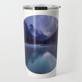 Mid Century Modern Round Circle Photo Reflective Purple And Blue Mountain Silhouette With Lake Travel Mug