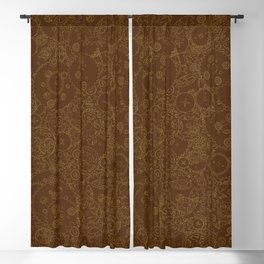 Clockwork Retro / Cogs and clockwork parts lineart pattern in brown and gold Blackout Curtain