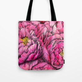 Peonies three pink Tote Bag