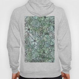 Spring Turquoise green floral hand drawn illustration pattern grey watercolor Hoody
