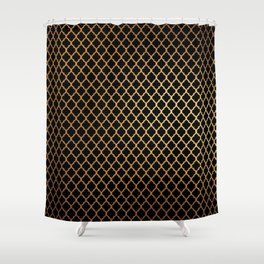 Black and Gold Quatrefoil Shower Curtain