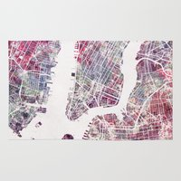 new york map Area & Throw Rugs featuring New York map by MapMapMaps.Watercolors