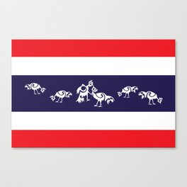 Thailand Flag, Roosters Sparring Canvas Print