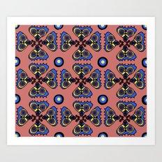 Butterflies and Dots Art Print